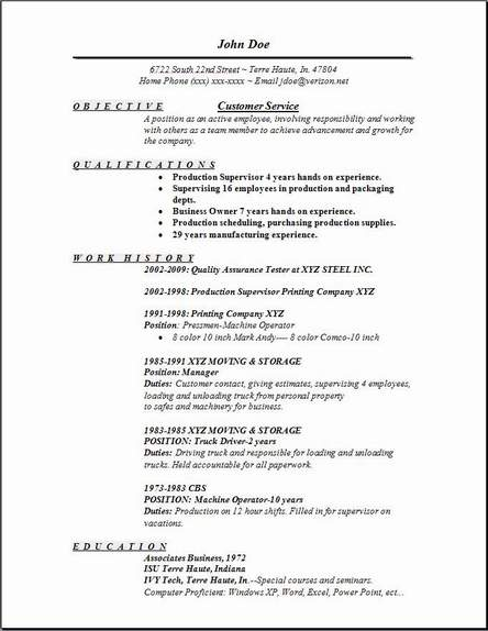 customer service resume - Customer Service Resumes Templates