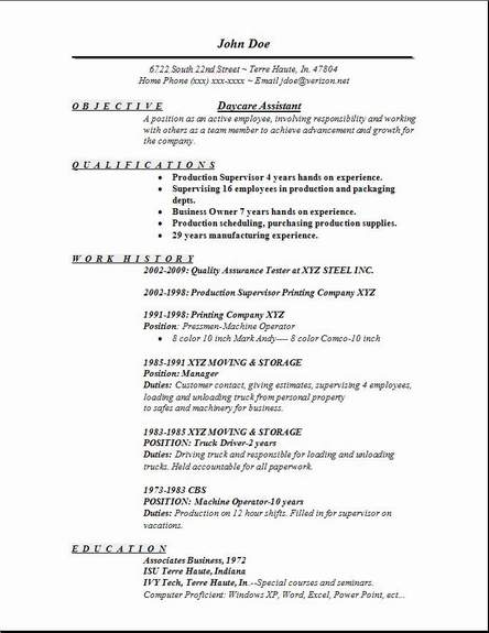 Resume For A Daycare Job