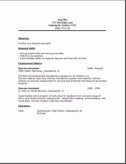 daycare assistant resume daycare assistant resume2 - Job Resume Cover Letter