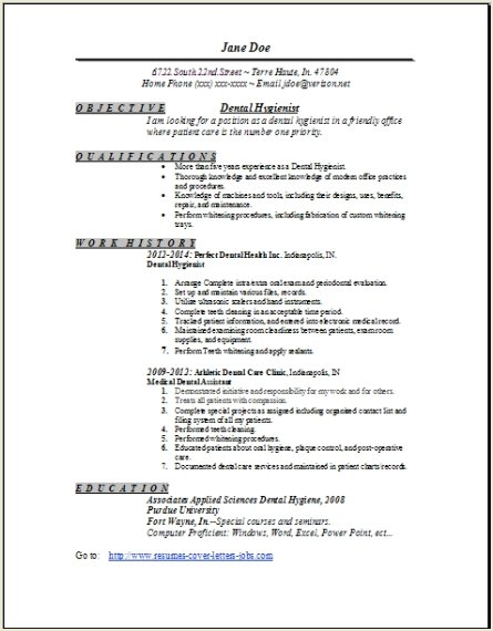 dental hygienist resume sample resume objective dental hygienist ...
