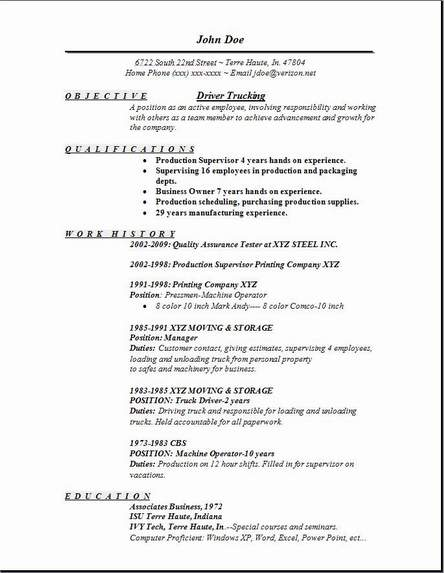 cv for driver format - Truck Driving Resume