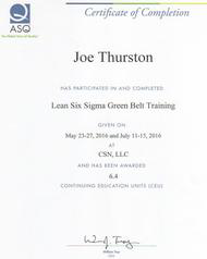 Six Sigma Green Belt Certificate