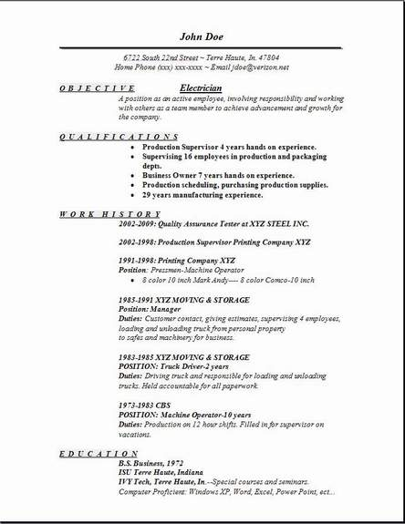 Electrician Resume Occupational Examples Samples Free Edit