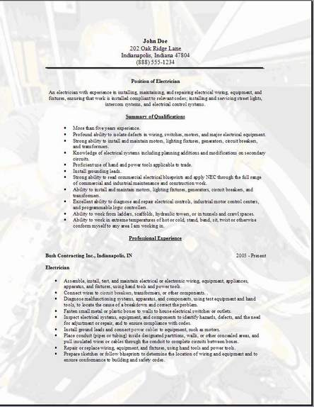 sample resumes for electricians
