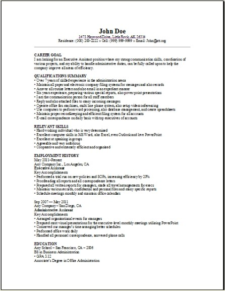 Executive Assistant Resume Sample  Occupational examples  samples Free edit with word