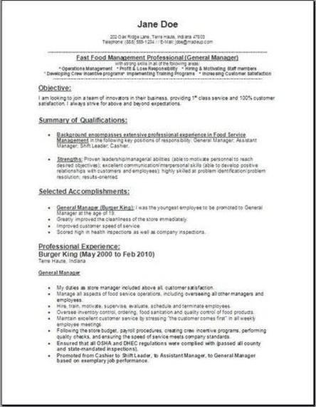 sle resume for cashier in fast food