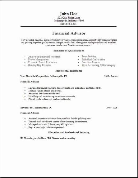 finance economics resume  occupational examples  samples