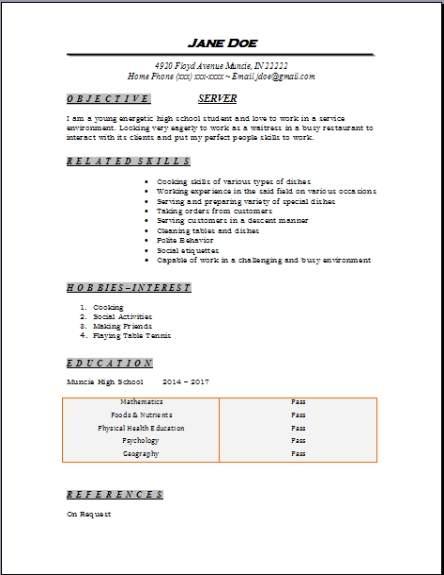 Free High School Resume