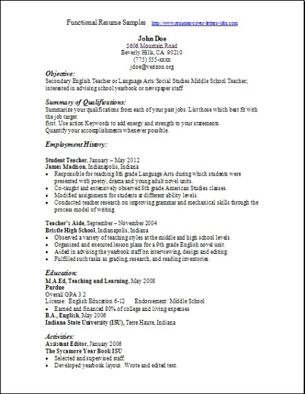 resume samples functional format