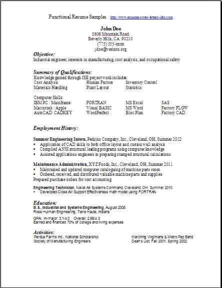 example free functional resume template