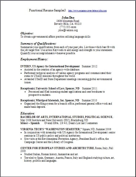 Resume Format   Free Word Templates For Functional Resume