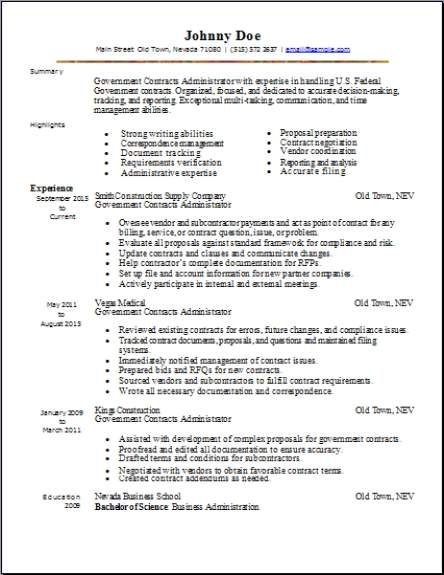 federal resume sample format