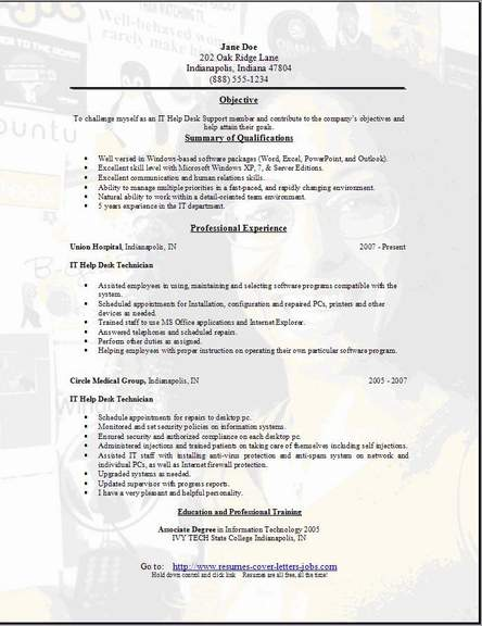 help desk support resume  occupational examples samples