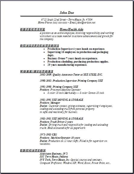 home health aide resume occupational examples samples free edit