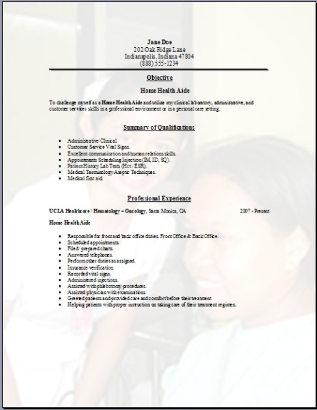 Home Health Aide Resume3