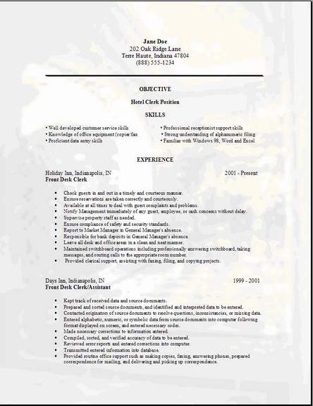 hotel clerk resume  occupational examples samples free edit with word