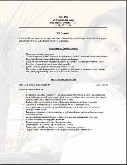 HR General Resume ...  General Job Resume