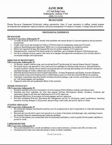 hr management resume occupational exles sles free
