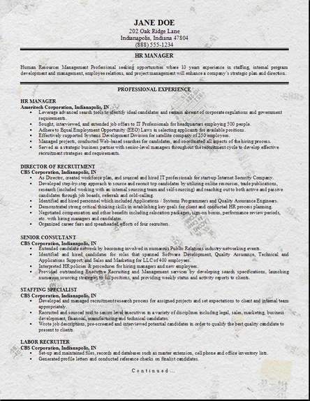 Charmant HR Management Resume ...