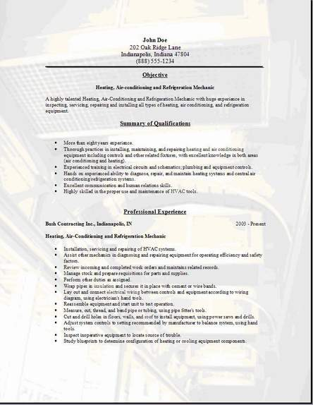 hvac resume - Hvac Resume Template
