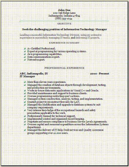 Information Technology Resume OccupationalExamplesSamples Free