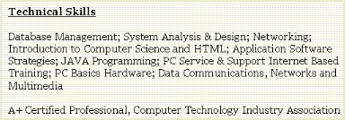 Job Resume Technical Skills