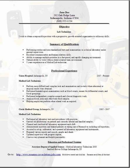 lab technician resume - Medical Technologist Resume
