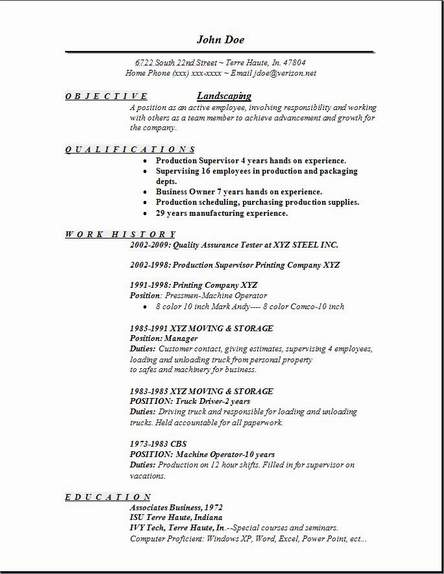 Resume for landscaping