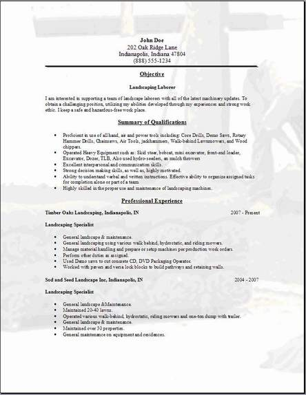 Landscaping Resume Occupational Examples Samples Free
