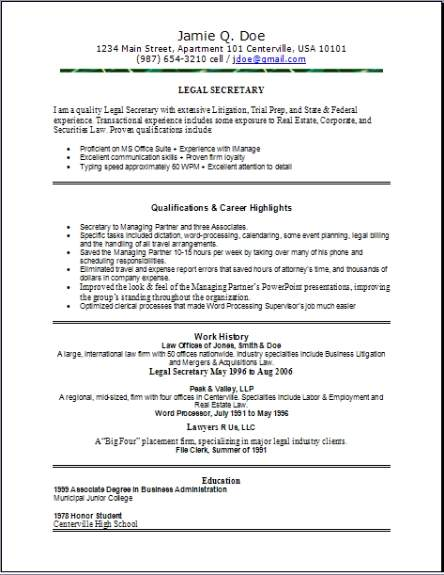 Legal Resume  Occupational examples samples