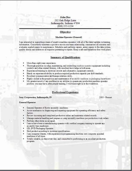 Machine Operator Resume3