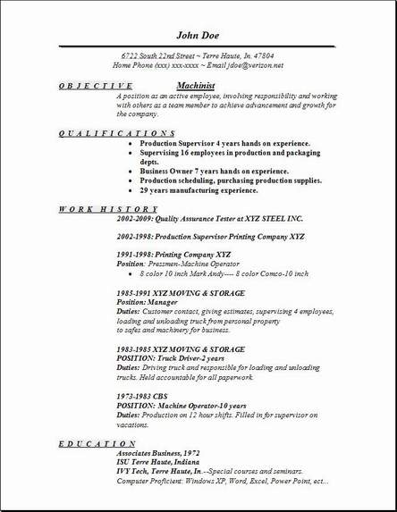 Machinist Resume