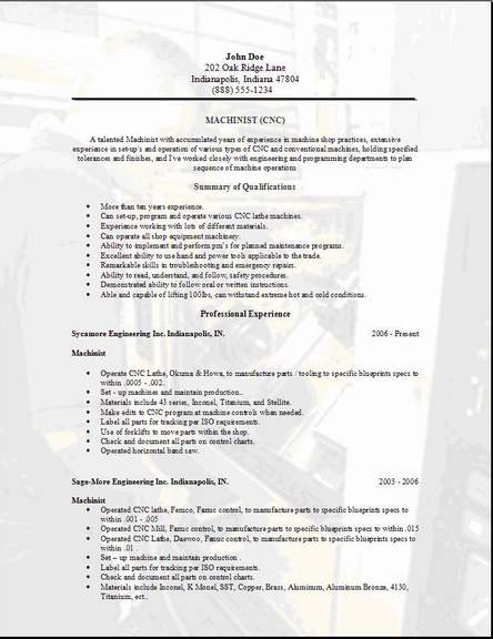 machinist resume  occupational examples samples free edit