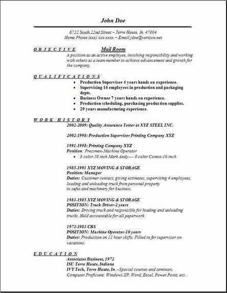 Mail Room Resume