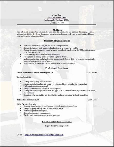 Mail Room Resume3