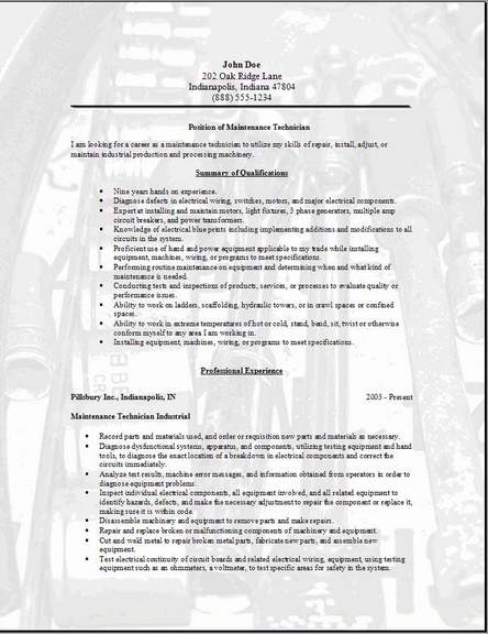 maintenance technician resume  occupational examples