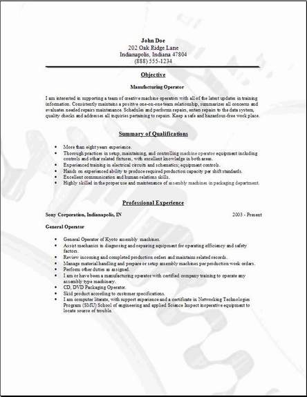 manufacturing operator resume  occupational examples