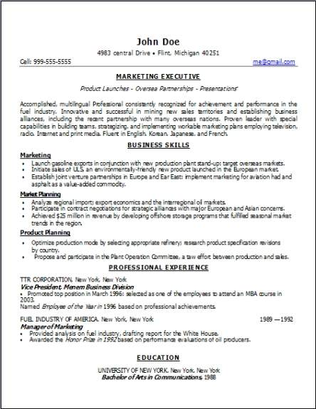 marketing resume  occupational examples samples free edit