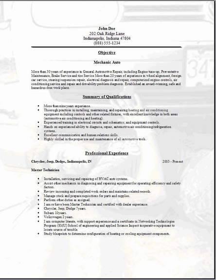 mechanic auto resume occupational exles sles free
