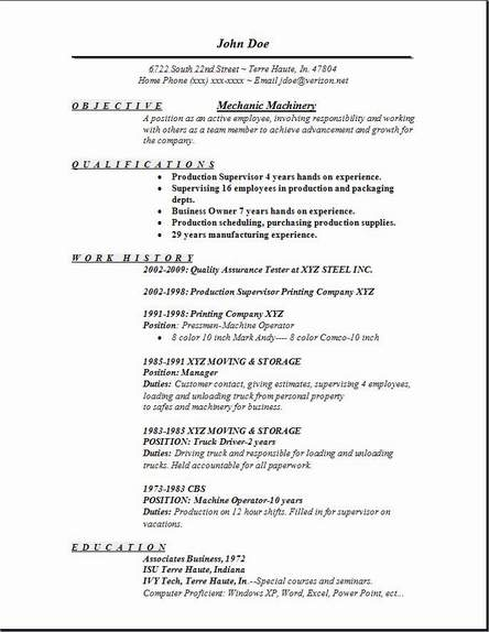 mechanic machinery resume occupational examples samples