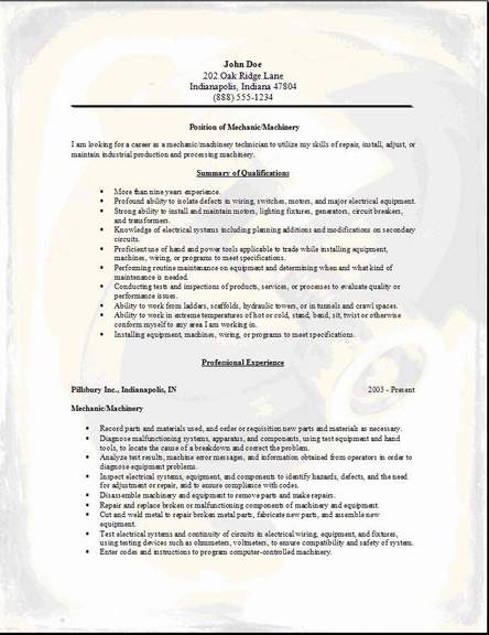 Mechanic Machinery Resume OccupationalExamplesSamples Free Edit