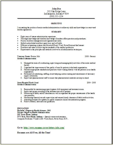 Medical Administration Resume