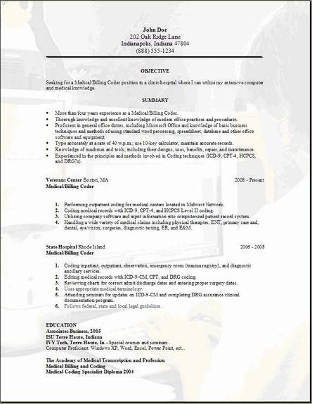 medical-billing-resume3 Occupational The Cover Letter Template on to write, sample email, free professional, just basic, google docs, microsoft office,