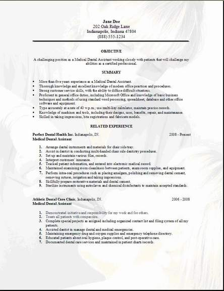 resume sles for dentist