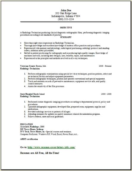 Medical Lab Radiology Resume Occupational Examples