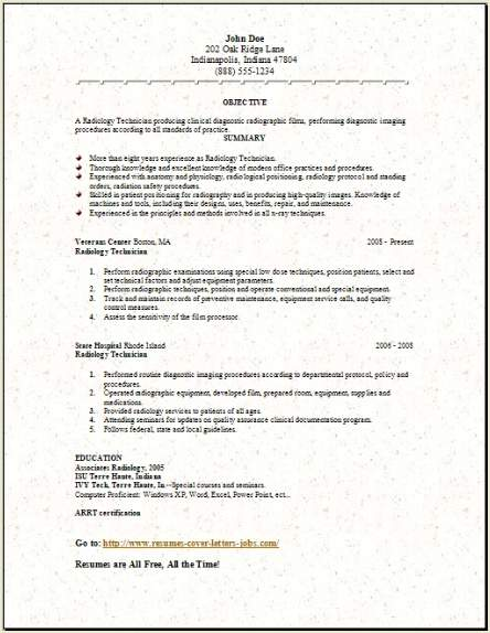 Free Medical Lab Radiology Resume Template3