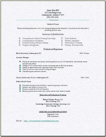 medical nursing resume occupational examples samples