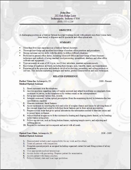Medical Optical Resume Occupational Examples Samples Free