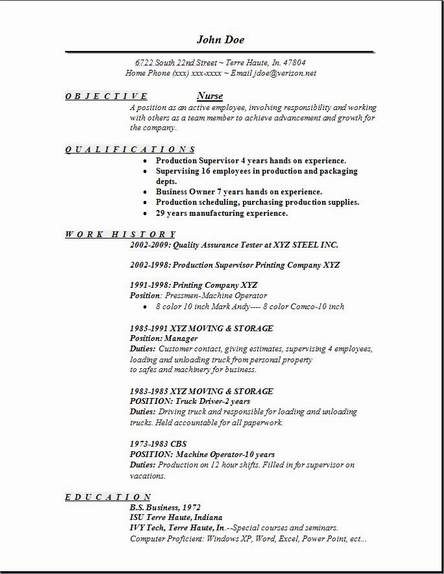 Nursing Job Resume Format