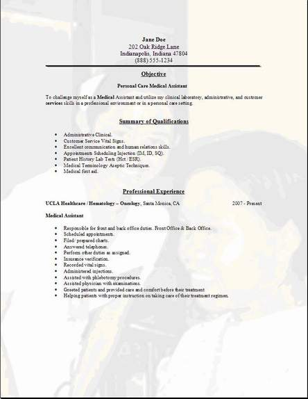 Personal Care Resume, Occupational:examples,samples Free ...